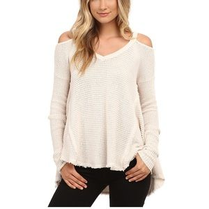 Free People - cream cold shoulder sweater (Small)